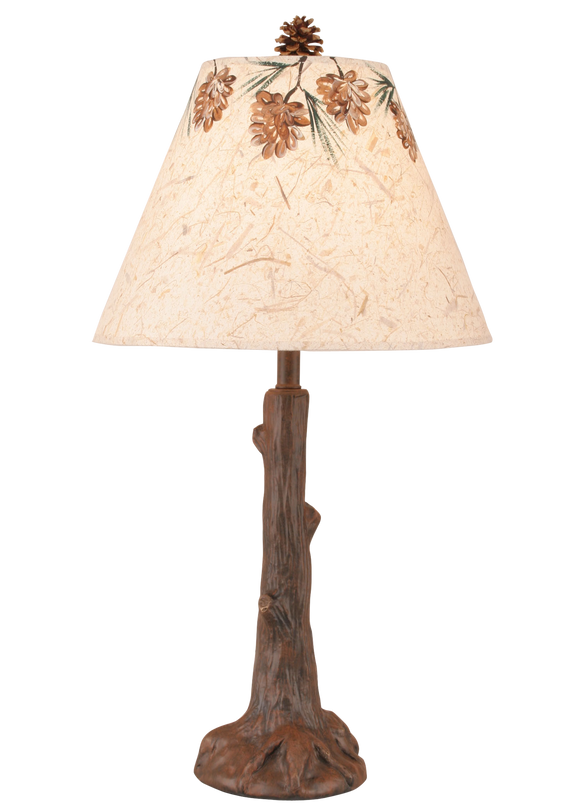 Rust Tree Trunk Table Lamp w/ Pine Cone Canopy Shade - Coast Lamp Shop