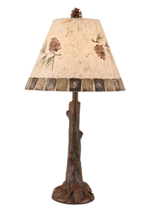 Rust Tree Trunk Table Lamp w/ Pine Cone and Blocks Table Lamp - Coast Lamp Shop