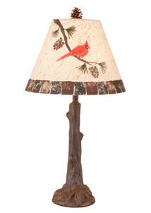 Rust Tree Trunk Table Lamp w/ Cardinal Shade - Coast Lamp Shop