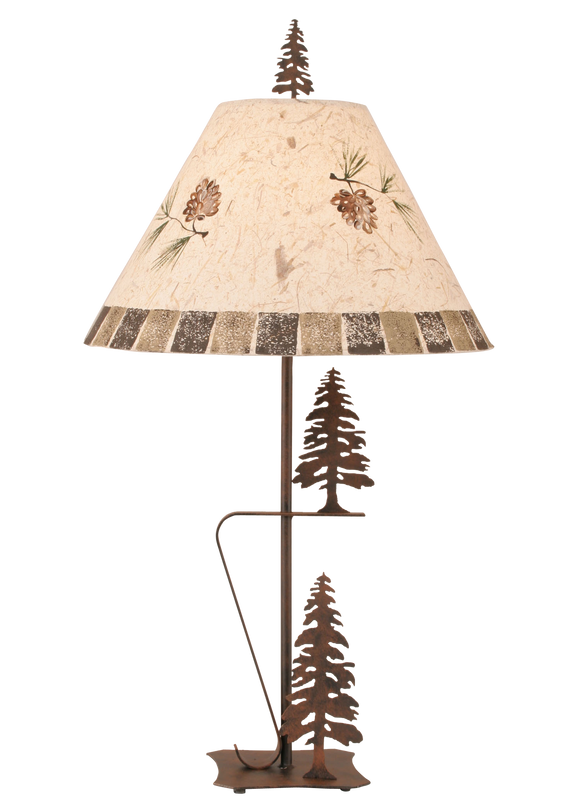 Rust 2 Trees Table Lamp w/ Pine Cone Shade - Coast Lamp Shop