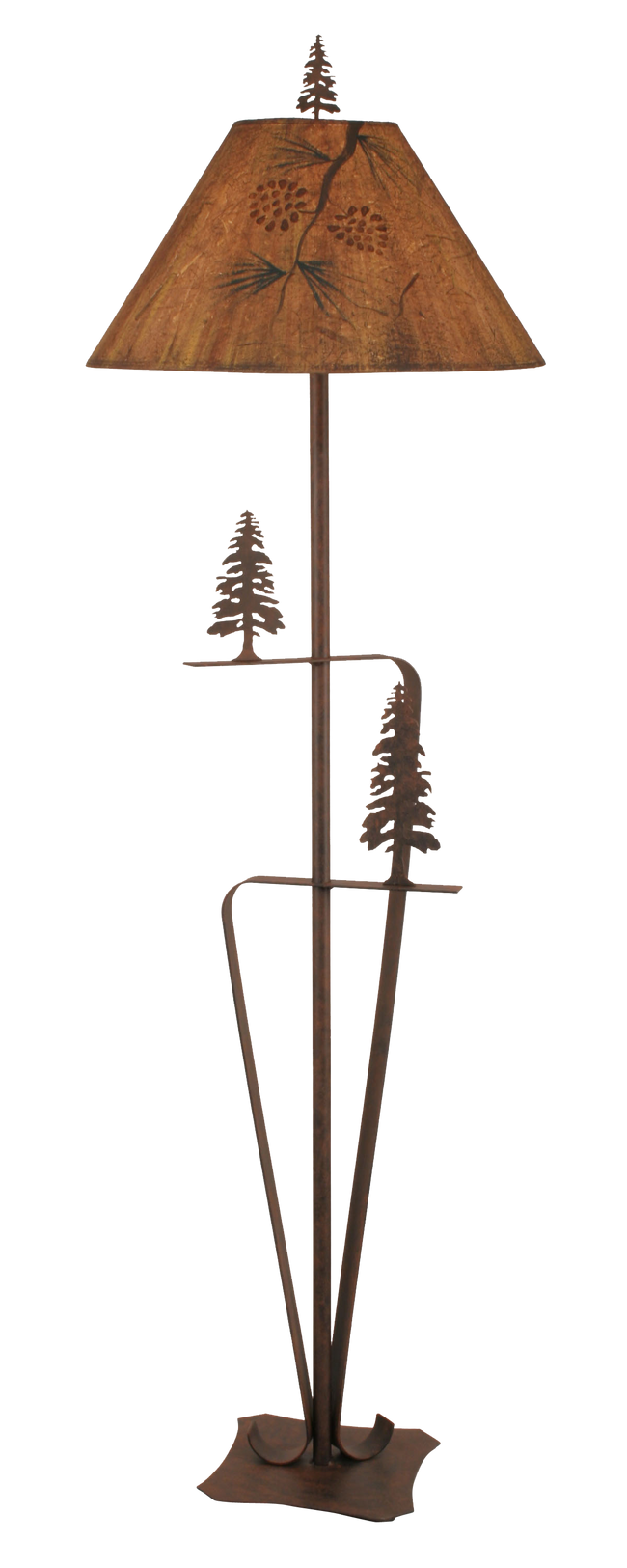 Rust 2 Trees Floor Lamp w/ Pine Branch Shade - Coast Lamp Shop