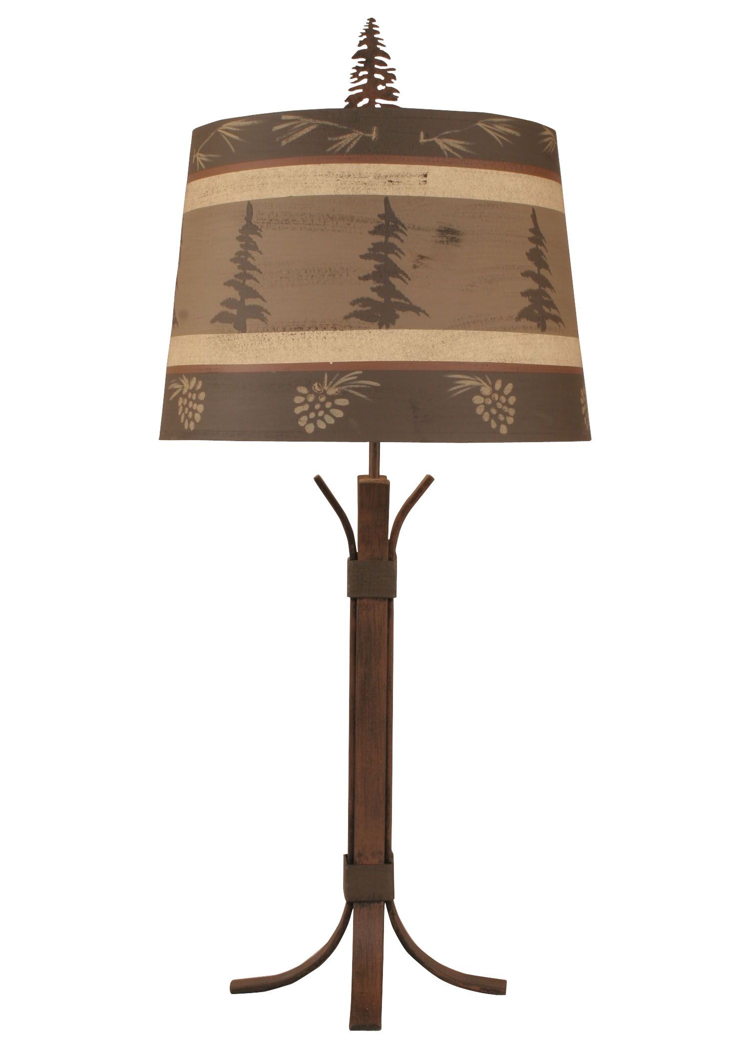 4 Leg Iron Table Lamp w/ Tree and Pine Cone Shade - Coast Lamp Shop