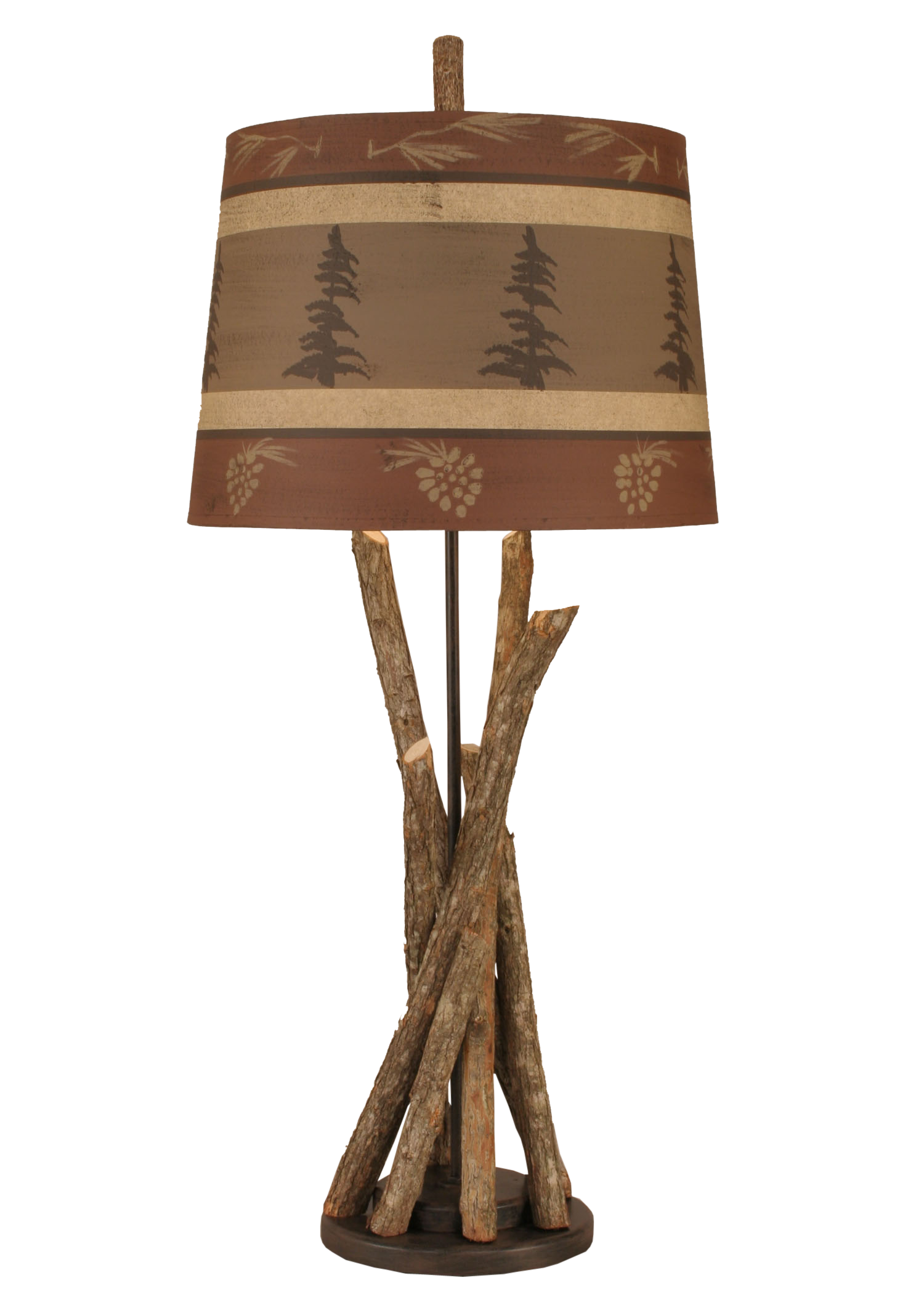 Bundle Of Sticks Table Lamp w/ Rust Tree and Pine Cone Shade - Coast Lamp Shop
