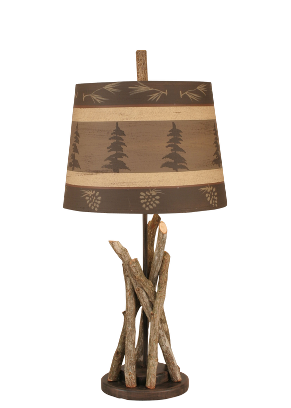 Bundle of Sticks Accent Lamp w/ Tree and Pine Cone Shade - Coast Lamp Shop