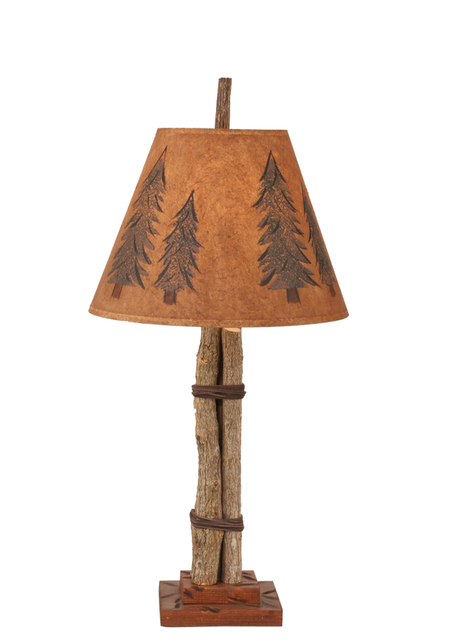 Rustic table lamps coast lamp shop twig and leather accent lamp w pine tree shade coast lamp shop aloadofball Gallery
