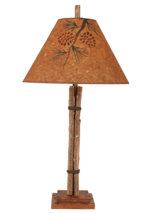 Twig and Leather Table Lamp w/ Pine Branch Shade - Coast Lamp Shop