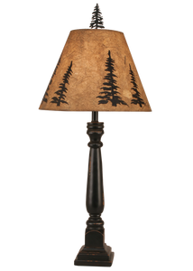 Distressed Black Square Buffet Lamp w/ Feather Tree Shade - Coast Lamp Shop