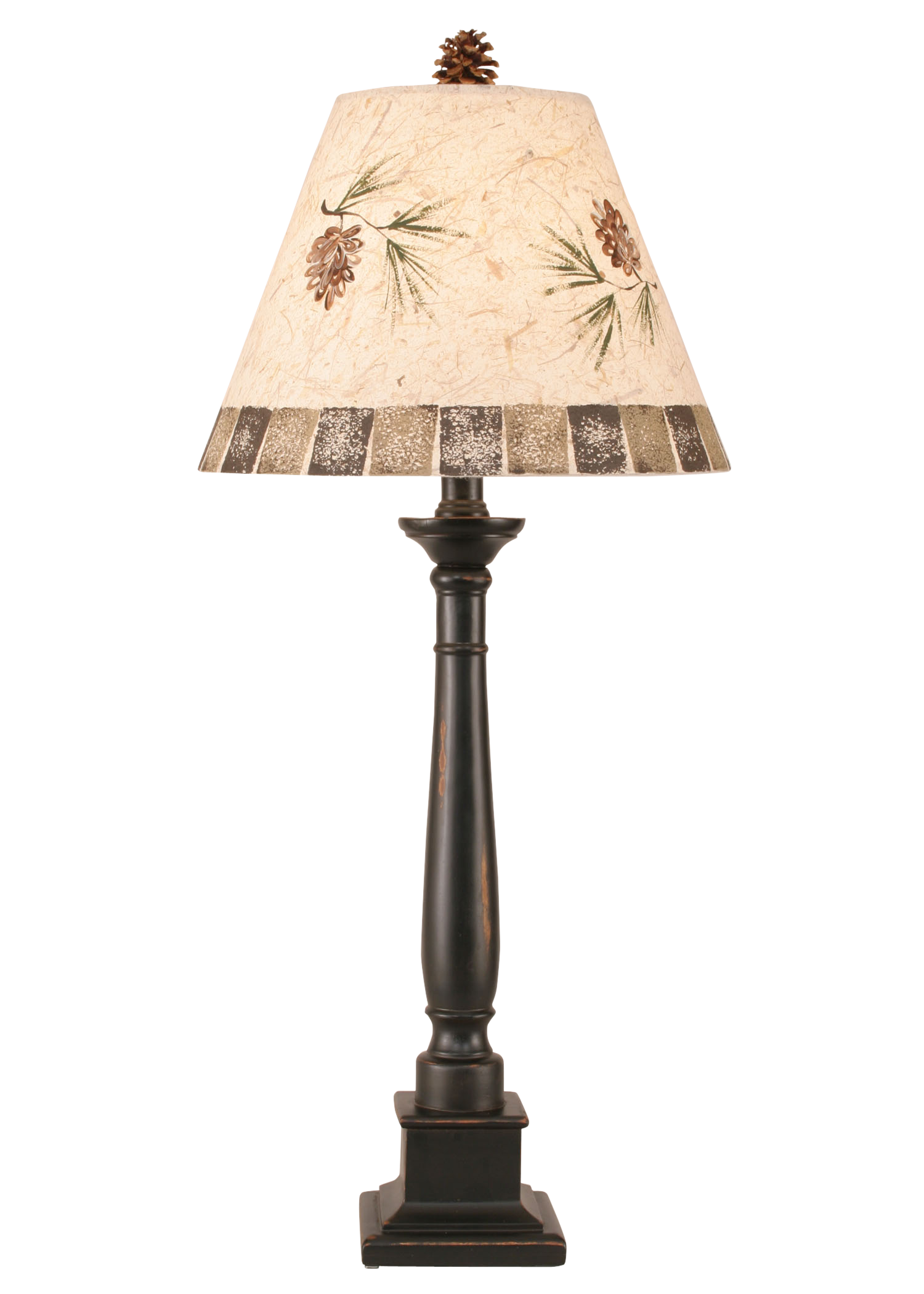 Distressed Black Square Candlestick Table Lamp w/ Pine Cone Shade - Coast Lamp Shop