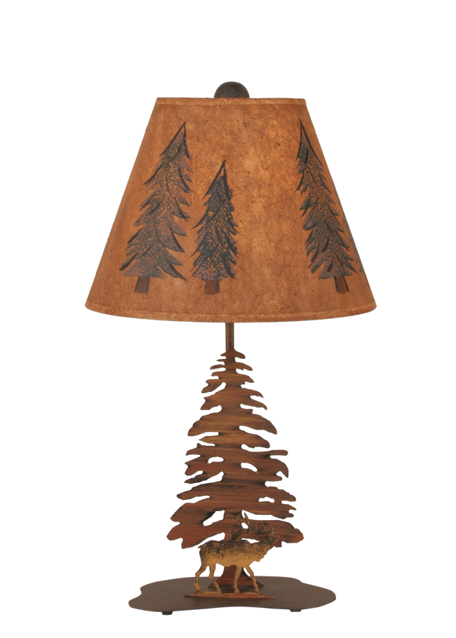 Charred Tree and Elk Accent Lamp - Coast Lamp Shop
