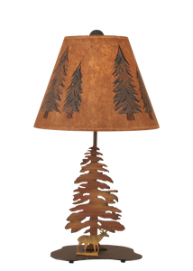 Charred Tree and Deer Accent Lamp - Coast Lamp Shop