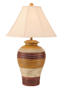 Glaze Chunky Ribbed Table Lamp w/ Linen Shade - Coast Lamp Shop