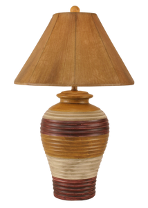 Glaze Chunky Ribbed Table Lamp w/ Faux Leather Shade - Coast Lamp Shop