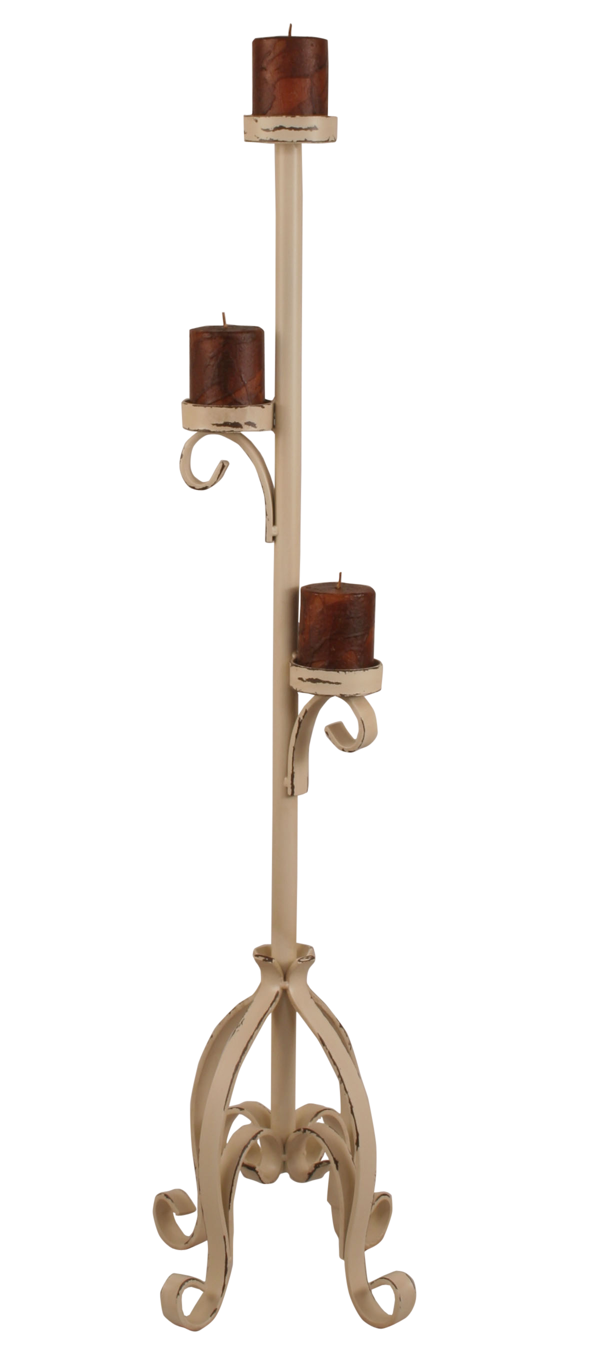 Distressed Cottage Plain Pedestal 3 Tiered Candlle Stand - Coast Lamp Shop