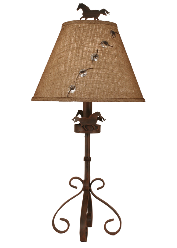 Rust Streak Iron S Leg Table Lamp w/ Horse Accent - Coast Lamp Shop