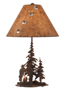 Rust Streak Cowboys Around Campfire Table Lamp w/ Night Light - Coast Lamp Shop