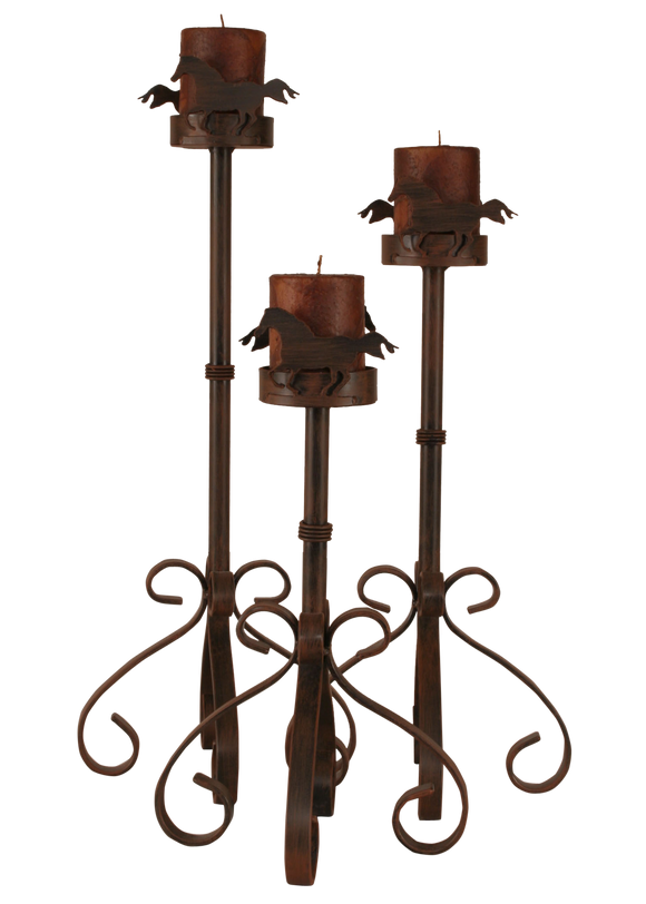 Rust Streak Iron S Leg Candle Set w/ Horse Accent - Coast Lamp Shop
