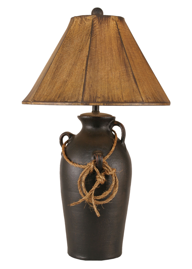 Distressed Black 3 Handle Table Lamp w/ Lasso - Coast Lamp Shop