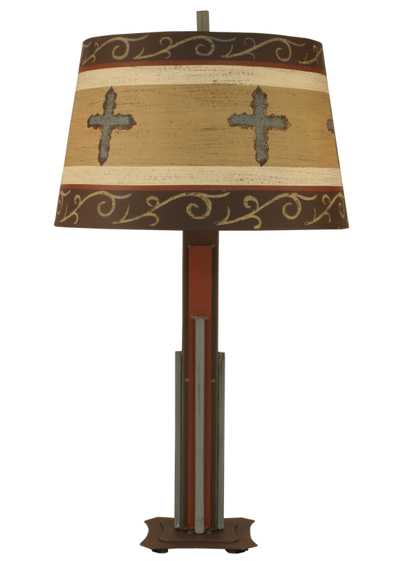 Western Iron Rod Table Lamp w/ Cross Shade - Coast Lamp Shop