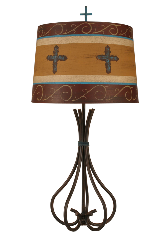 Rust Streak Iron 5 Leg Table Lamp w/ Cross Shade - Coast Lamp Shop