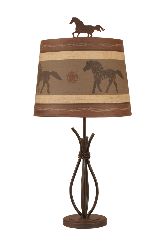 Rust Streaked Iron Stack Accent Lamp w/ Running Horse Shade - Coast Lamp Shop