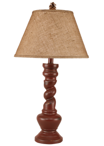 Distressed Red Country Twist Table Lamp w/ Real Pine Cone Accent - Coast Lamp Shop