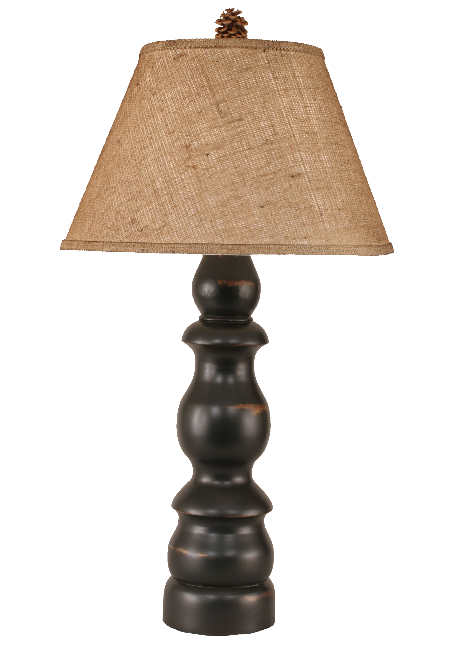 Distressed Black Farmhouse Table Lamp w/ Real Pine Cone Accent - Coast Lamp Shop