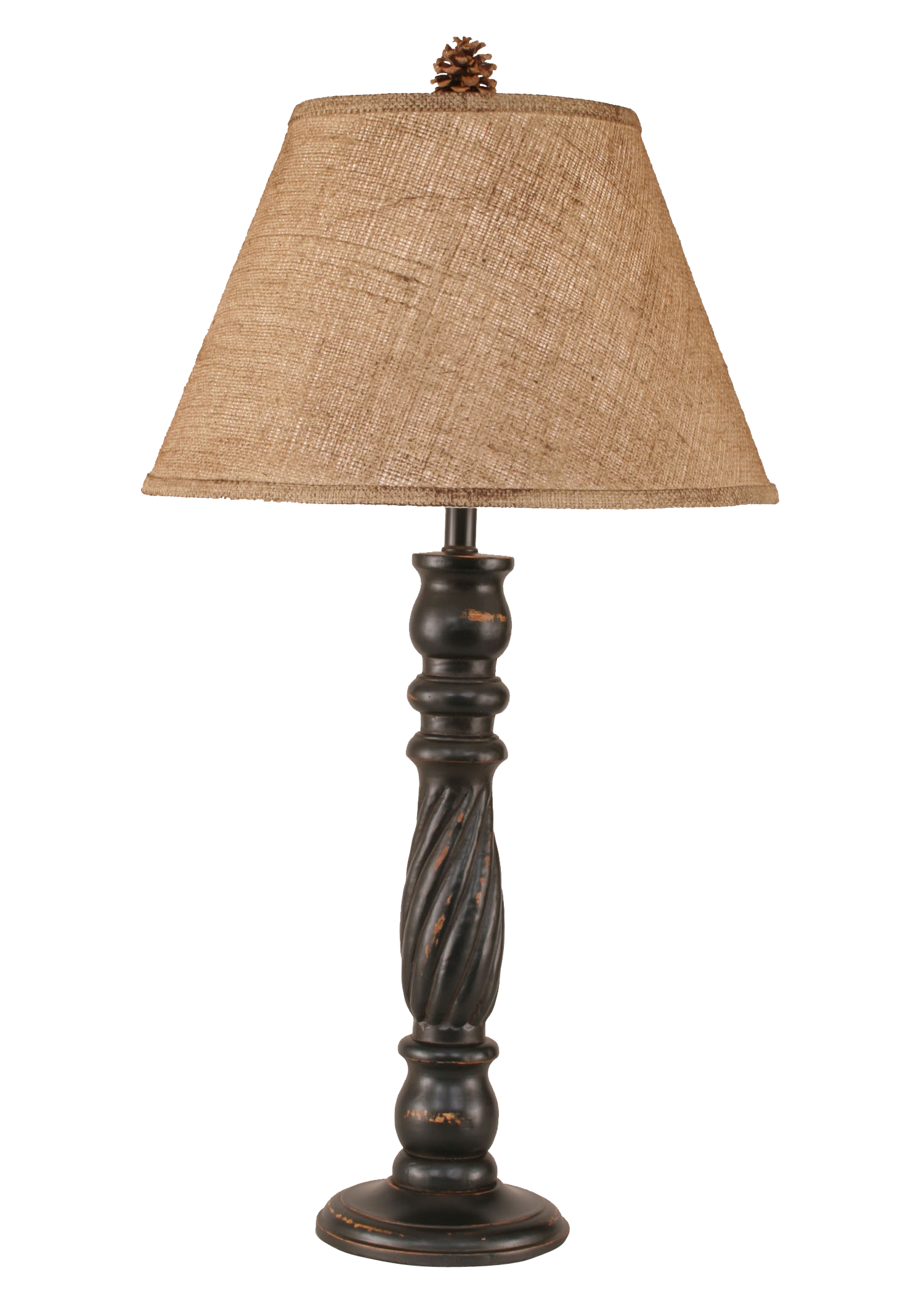 Distressed Black Swirl Table Lamp w/ Real Pine Cone Accent - Coast Lamp Shop