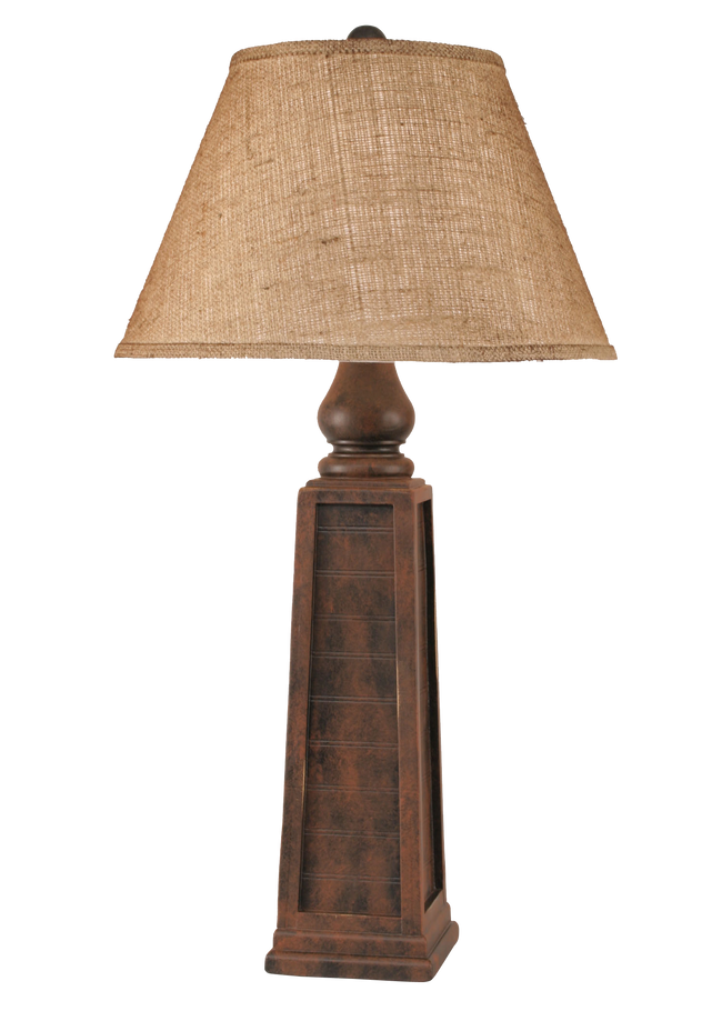 Rust Pyramid Table Lamp w/ Real Pine Cone Accent - Coast Lamp Shop