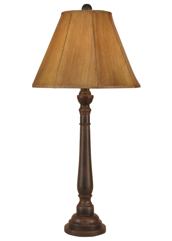 Rust Streaked Round Buffet Lamp w/ Faux Leather Shade - Coast Lamp Shop