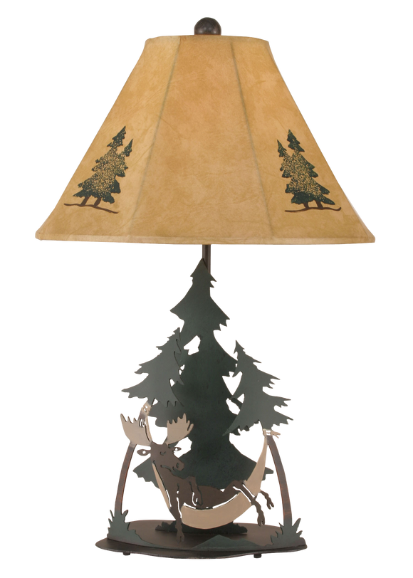 Outland Moose In Hammock Table Lamp - Coast Lamp Shop