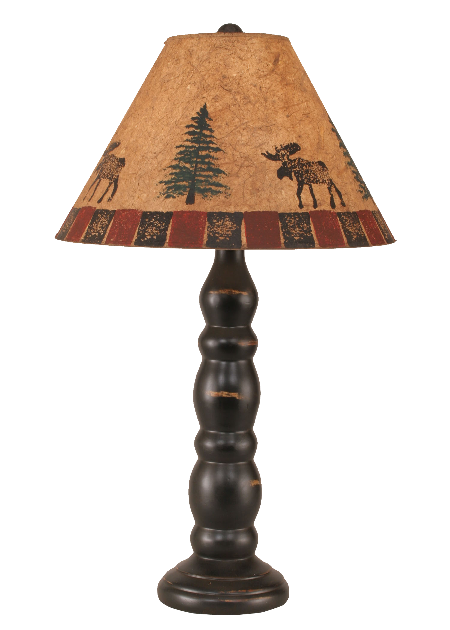 Distressed Black Sectioned Candlestick Table Lamp w/ Moose and Trees Shade - Coast Lamp Shop