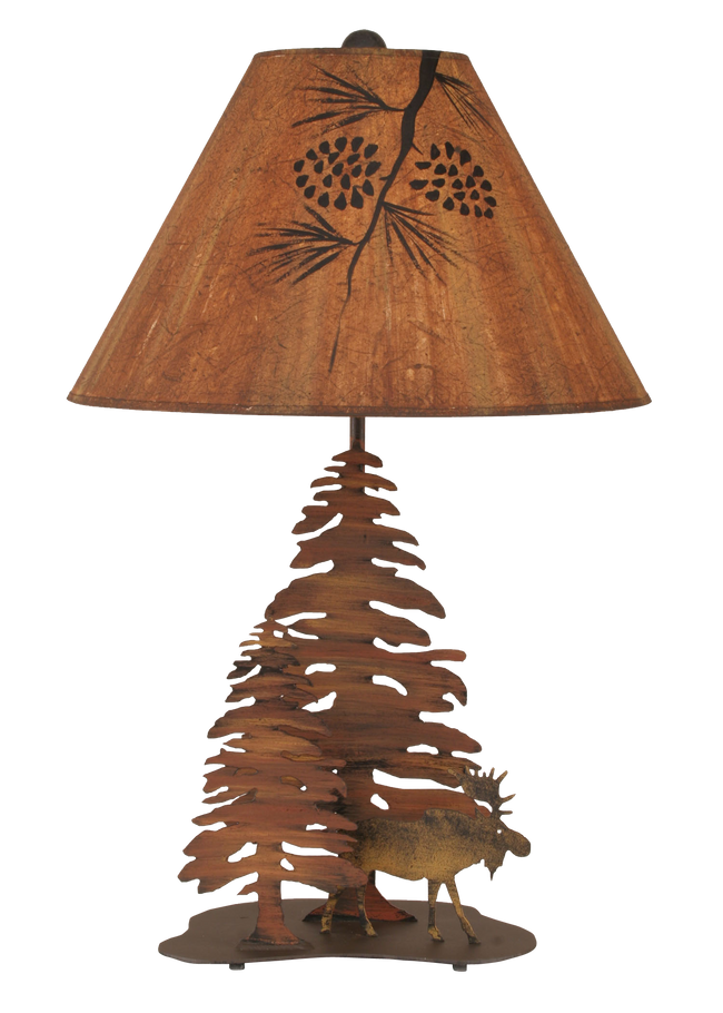 Charred 2 Pine and Moose Table Lamp - Coast Lamp Shop