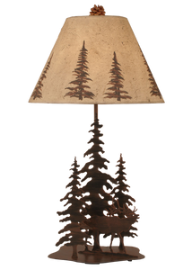Rust Streaked 3 Tree and Elk Table Lamp - Coast Lamp Shop