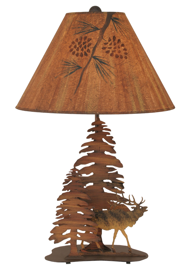 Charred 2 Tree and Elk Table Lamp - Coast Lamp Shop