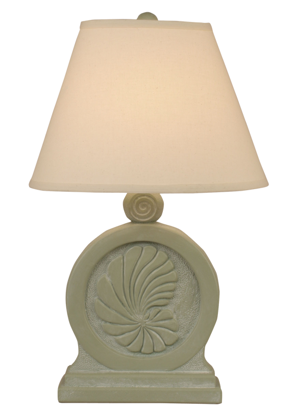 Sage Wash Framed Nautilus Shell Table Lamp - Coast Lamp Shop