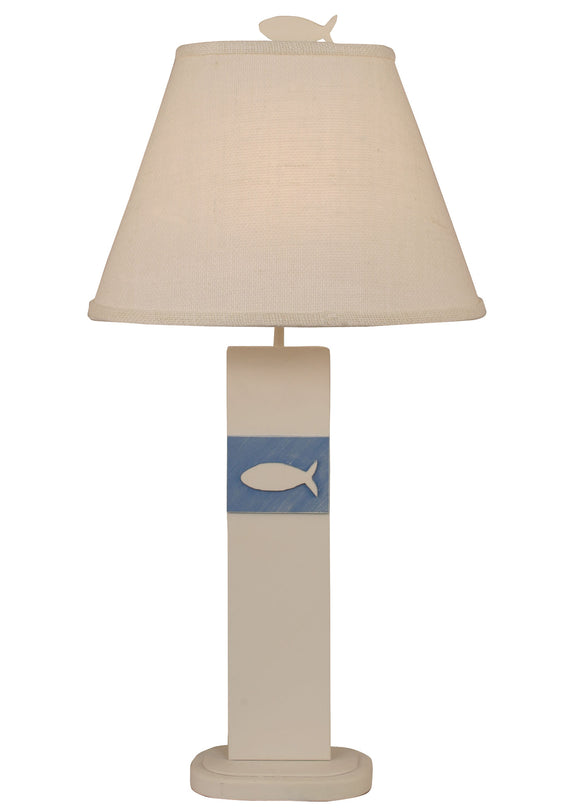 Weathered Nude/Blue China Fish Panel Table Lamp - Coast Lamp Shop