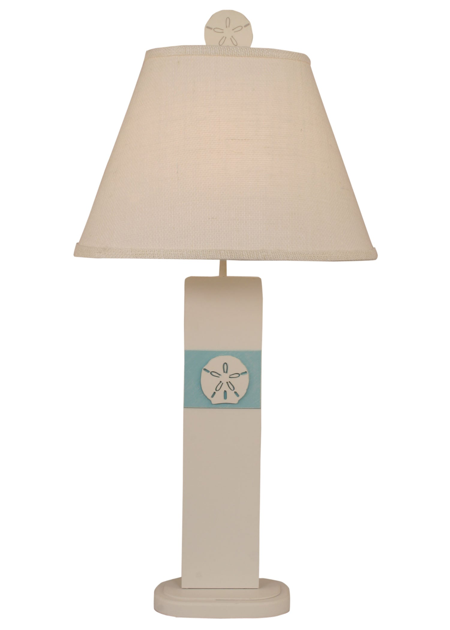 Weathered Nude/Turquoise Sea Sand Dollar Panel Table Lamp - Coast Lamp Shop