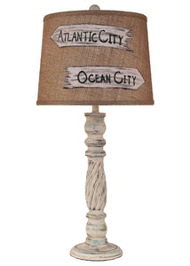 Shabby Summer Swirl Table Lamp w/ Personalized Signs Shade - Coast Lamp Shop