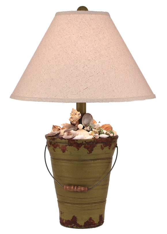Aged Lime Bucket of Shells Table Lamp - Coast Lamp Shop