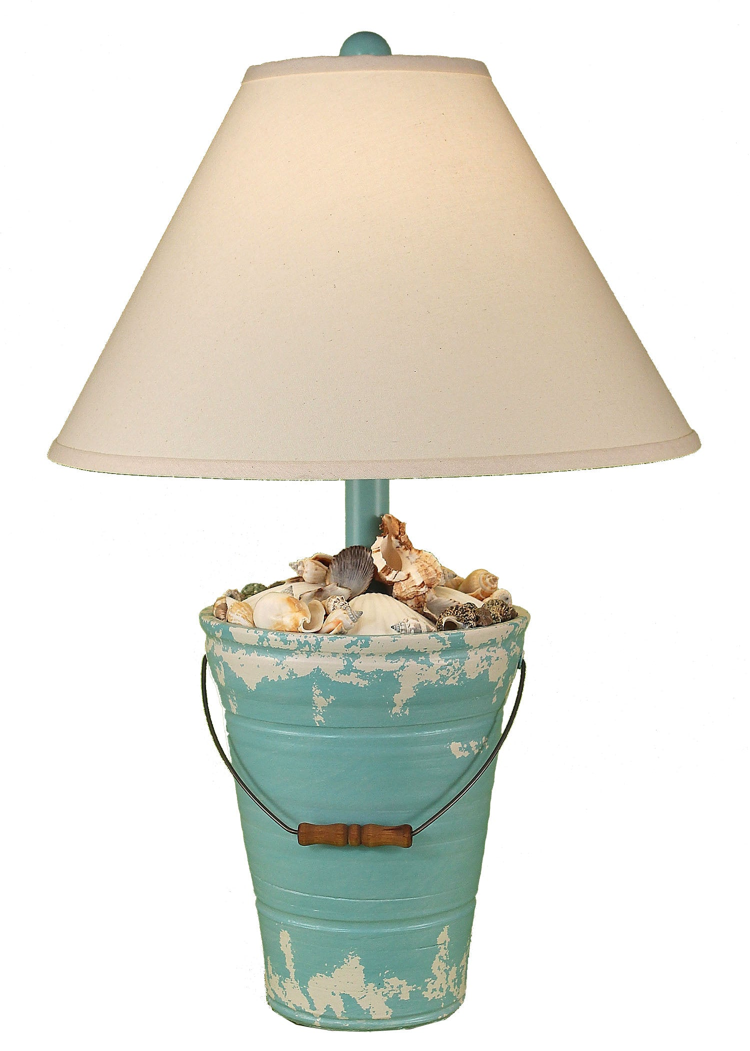 Tattered Turquoise Sea Bucket of Shells Table Lamp - Coast Lamp Shop