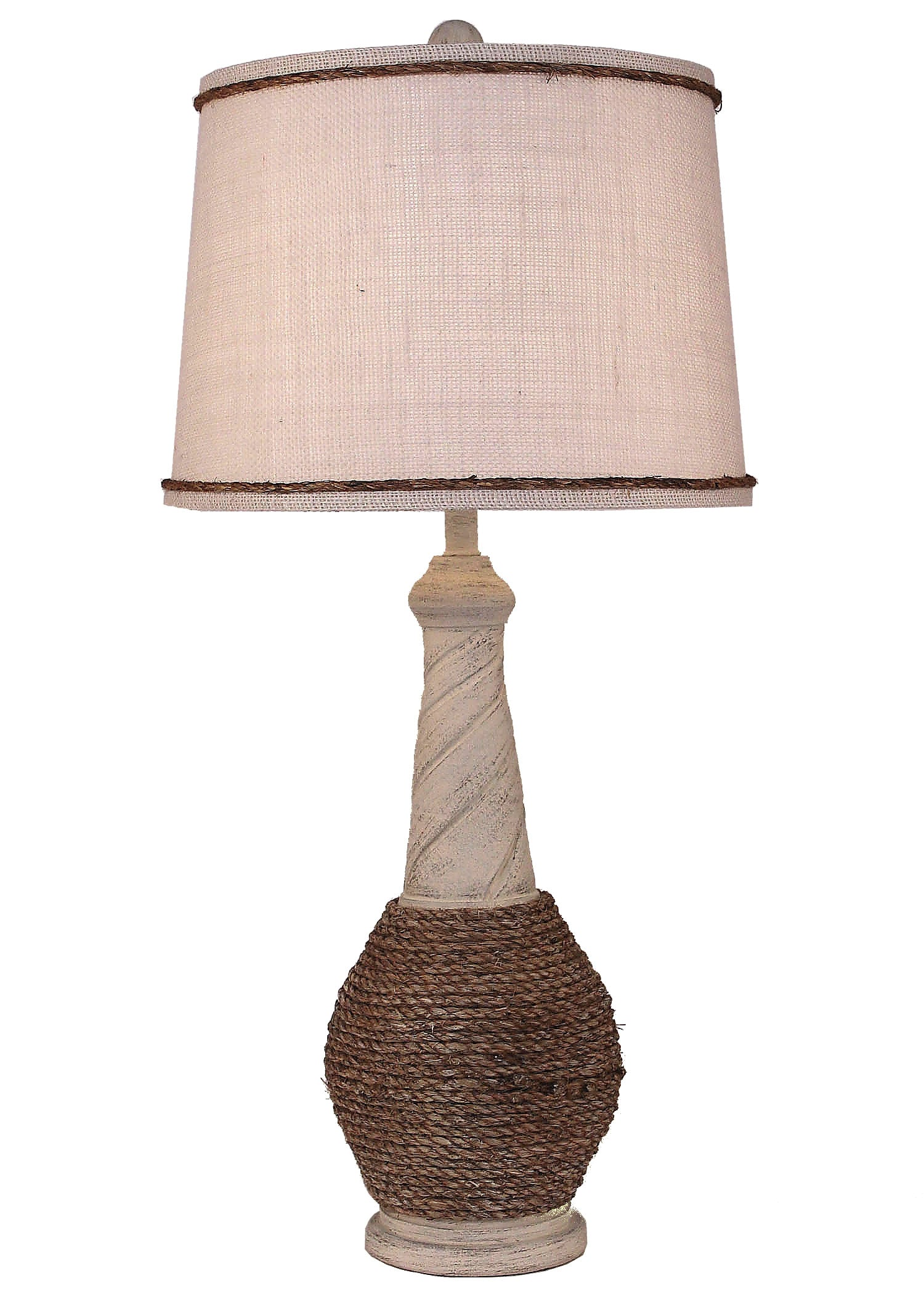Cottage Rope and Twist Table Lamp - Coast Lamp Shop