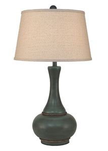 Turquoise Sea Glaze Aladdin Table Lamp w/ Rope Accent - Coast Lamp Shop