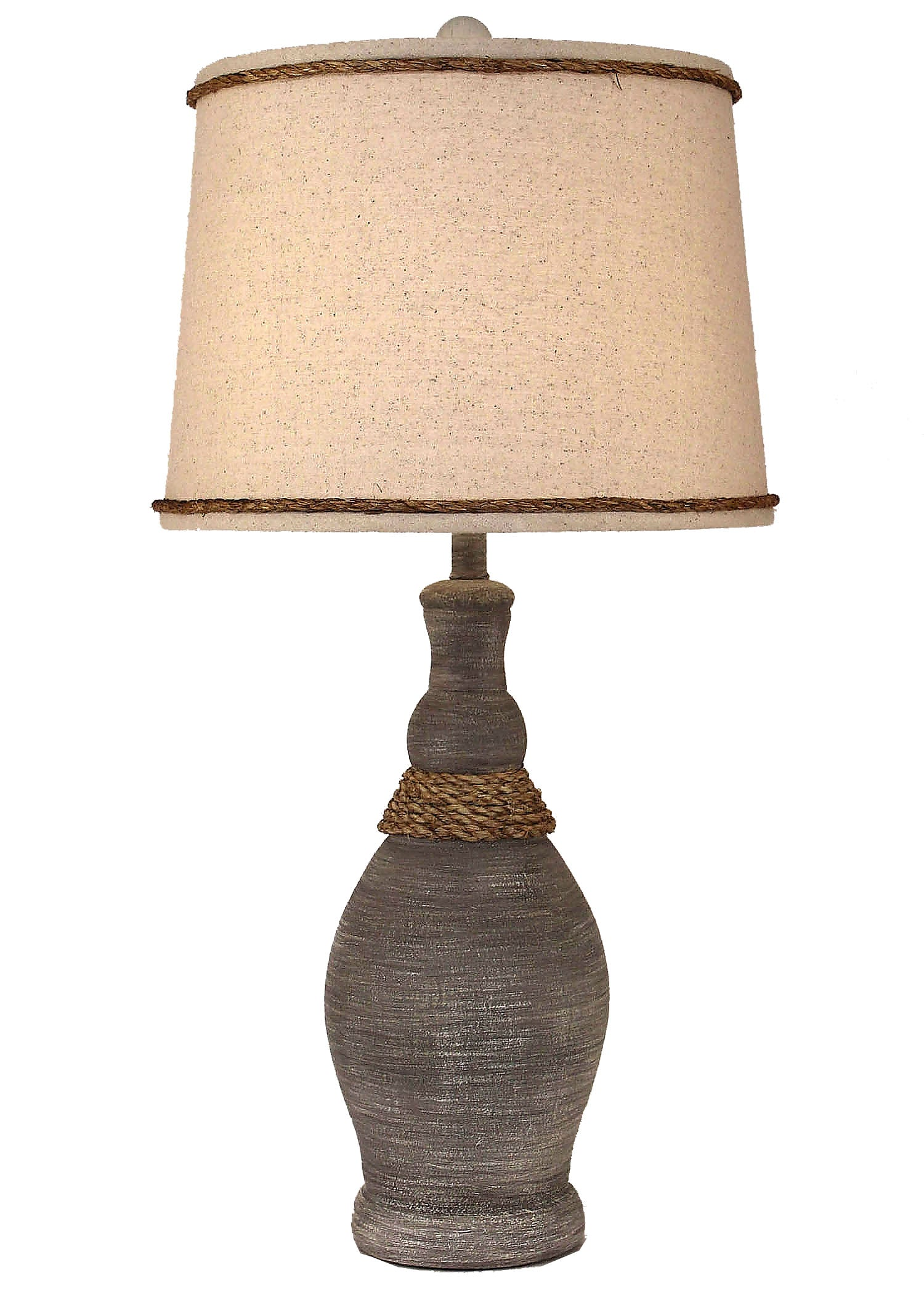 Driftwood Slender Neck Casual Table Lamp w/ Rope Accent - Coast Lamp Shop
