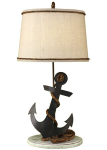 Tarnished Anchor Table Lamp - Coast Lamp Shop