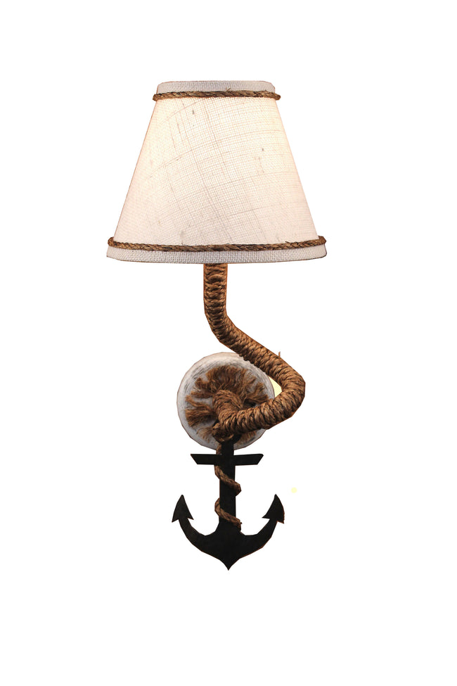 Tarnished Anchor and Rope Sconce - Coast Lamp Shop