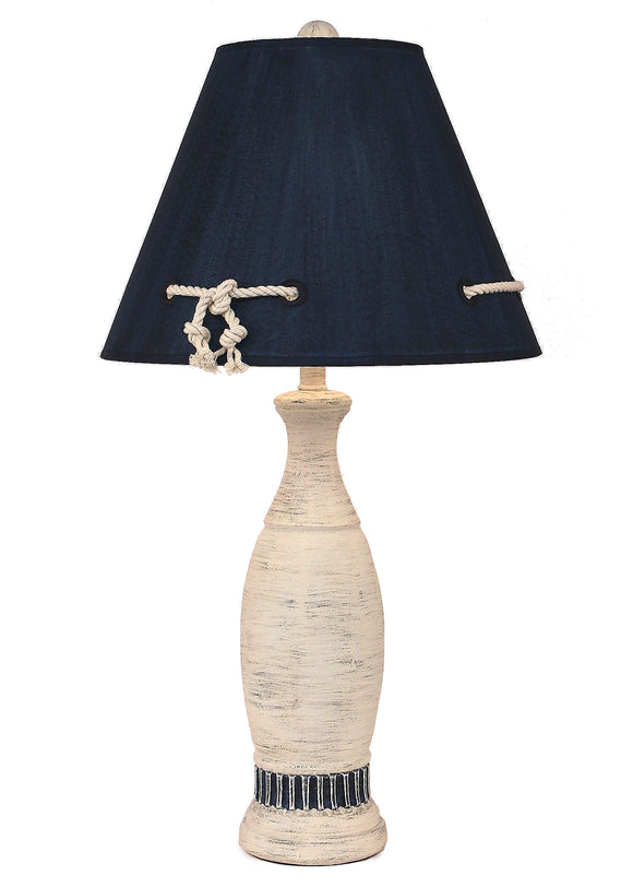 Cottage/Navy Ribbed Pedestal Table Lamp - Coast Lamp Shop