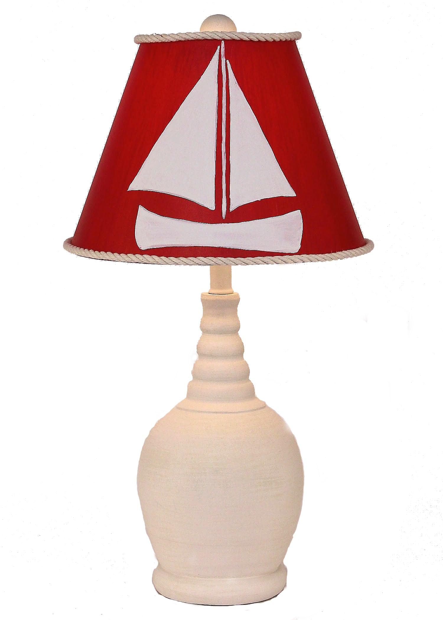 Classic Red and White Sailboat Accent Lamp - Coast Lamp Shop