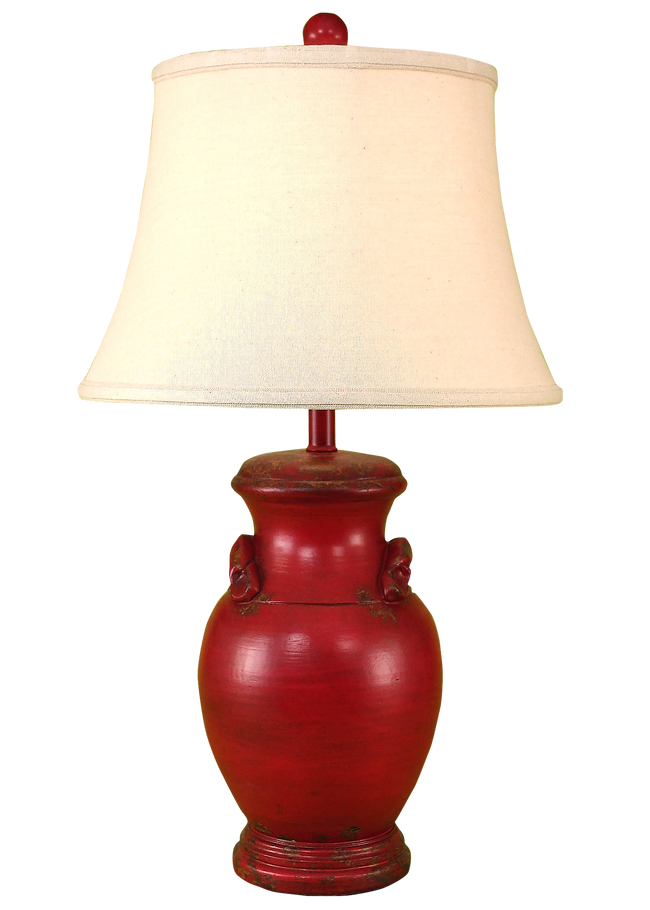 Aged Brick Red Crock Table Lamp w/ Handles - Coast Lamp Shop