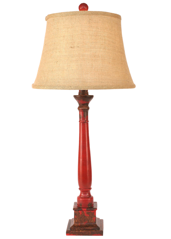 Aged Brick Red Square Candlestick Table Lamp - Coast Lamp Shop