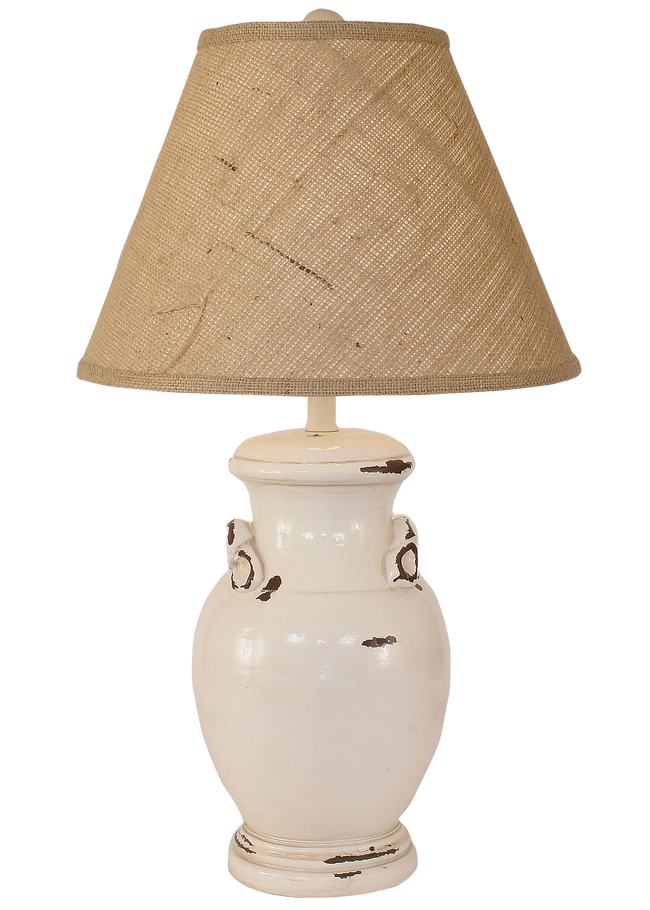 Distressed Light Nude Crock Table Lamp w/ Handles - Coast Lamp Shop